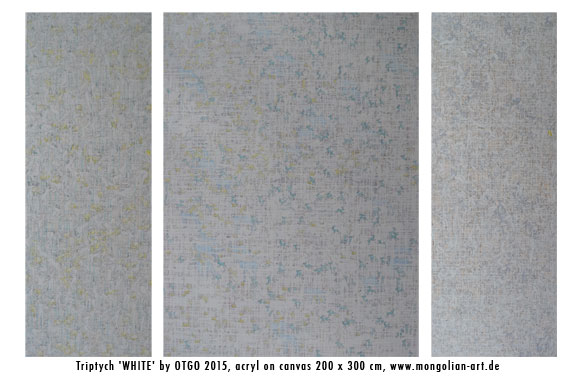 Triptych 'WHITE' by OTGO 2015, acryl on canvas 200 x 300 cm, www.mongolian-art.de